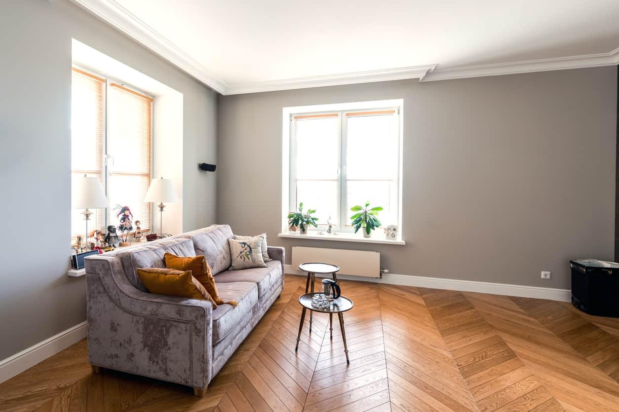 Living room modern classic style interior, studio apartment design